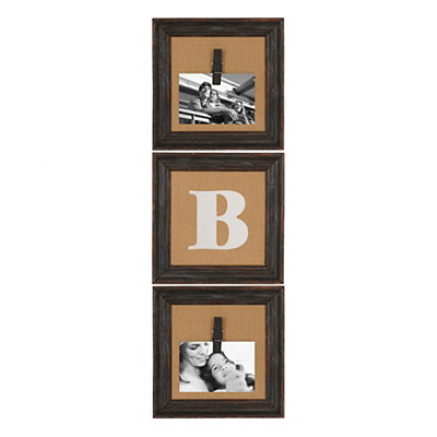 Burlap Monogram B Collage Frame, Set of 3