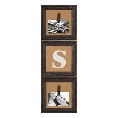 Burlap Monogram S Collage Frame, Set of 3