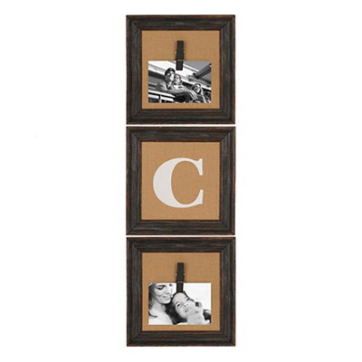 Burlap Monogram C Collage Frame, Set of 3