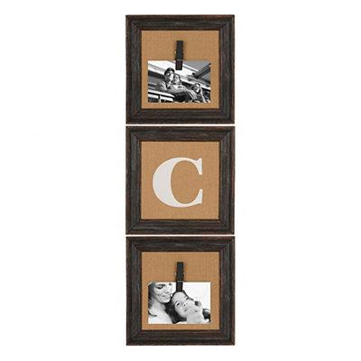 Burlap Monogram C Collage Frame, Set of 3