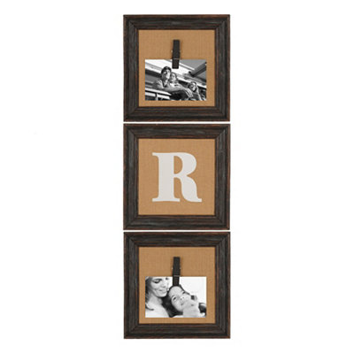 Burlap Monogram R Collage Frame, Set of 3