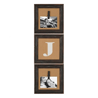 Burlap Monogram J Collage Frame, Set of 3