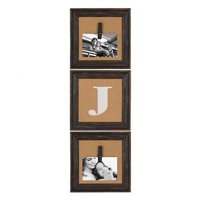 Burlap Monogram J Collage Frame, Set of 3