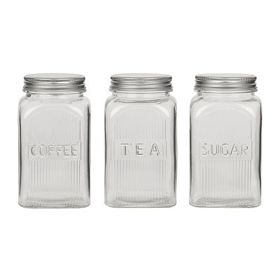 Clear Fluted Canisters, Set of 3