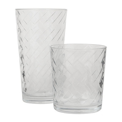 Riatta Textured Glasses, Set of 16
