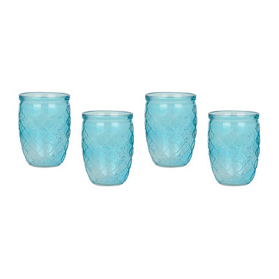 Garden Gate Aqua Glasses, Set of 4