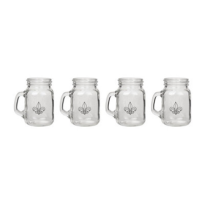Fleur-de-lis Mason Jar Shot Glasses, Set of 4
