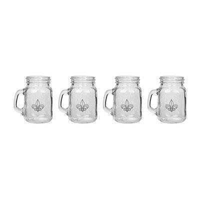 Fleur-de-lis Mason Jar Shot Glasses, Set of 4