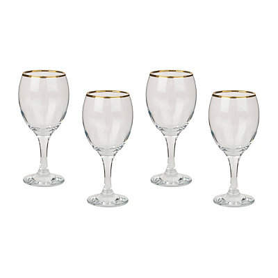 Imperial Gold Wine Glasses, Set of 4