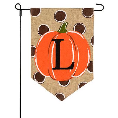 Burlap Polka Dot Monogram Pumpkin Flags