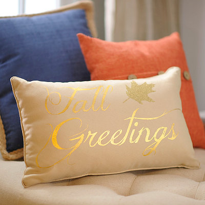Fall Greetings Metallic Accent Pillow