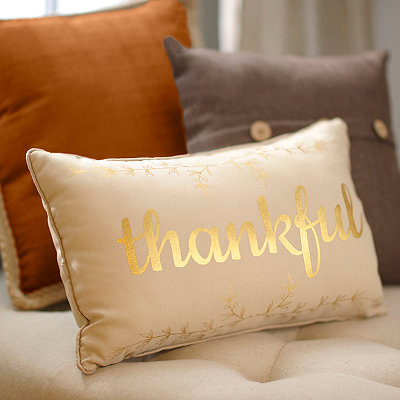 Thankful Metallic Accent Pillow
