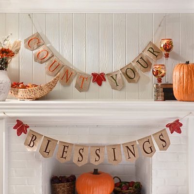 Count Your Blessings Burlap Banner