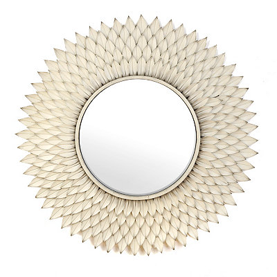 Antique Cream Chloe Floral Mirror, 36 in.