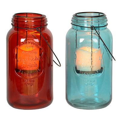 Colored Mason Jar LED Lanterns