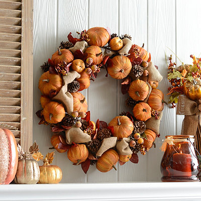 Pumpkin and Pine Cone Mix Wreath