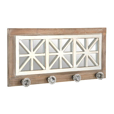 Distressed Mirrored Wooden Plaque with Knobs