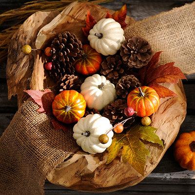 Pumpkin and Pine Cone Bowl Filler