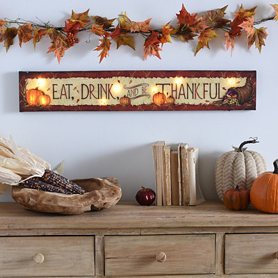 Eat, Drink, & Be Thankful LED Canvas Art Print