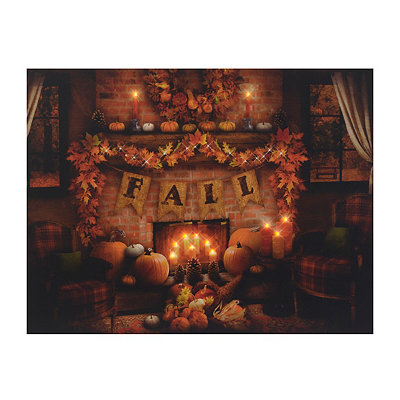 Fall Fire Place LED Canvas Art Print