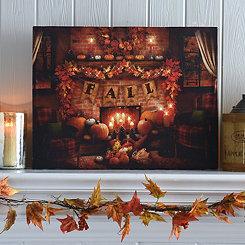 Fall Fire Place LED Canvas Art Print