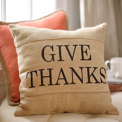 Give Thanks Burlap Pillow