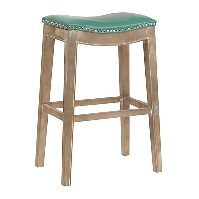 Mystique Turquoise Bonded Leather Bar Stool