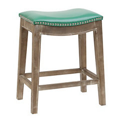 Mystique Turquoise Bonded Leather Counter Stool