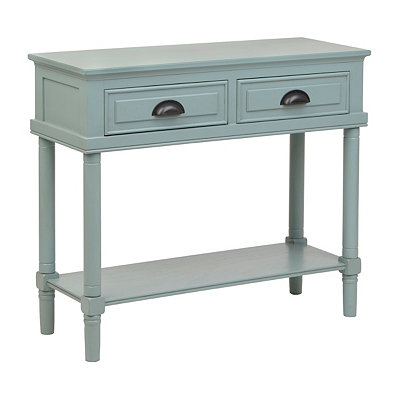 Blue 2-Drawer Console Table