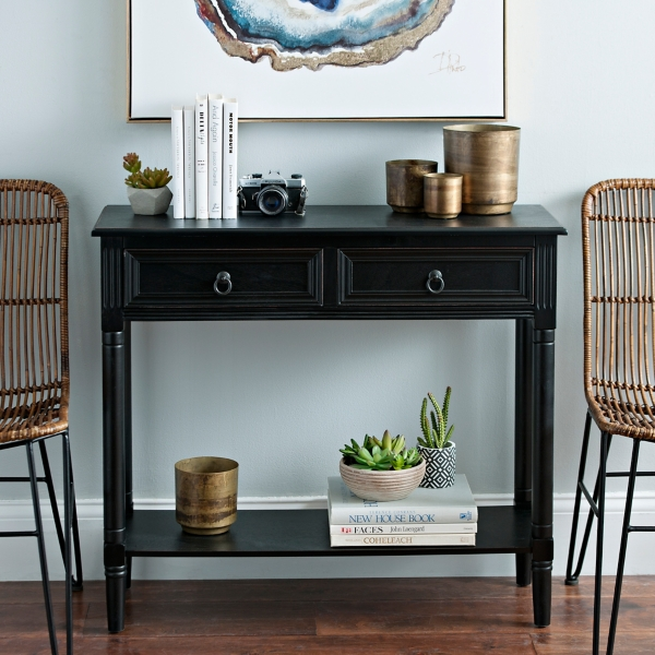 Black Wooden 2 Drawer Console Table