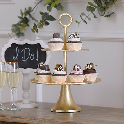 Metallic Gold 2-Tier Serving Tray