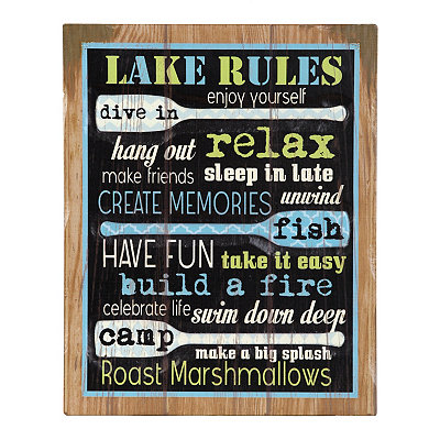 Lake Rules Wood Plank Plaque