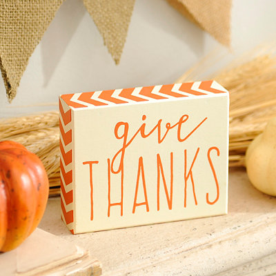 Give Thanks Orange Chevron Word Block