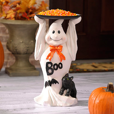 Boo Ghost Statue with Tray