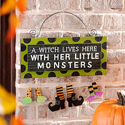 A Witch & Her Little Monsters Wall Sign