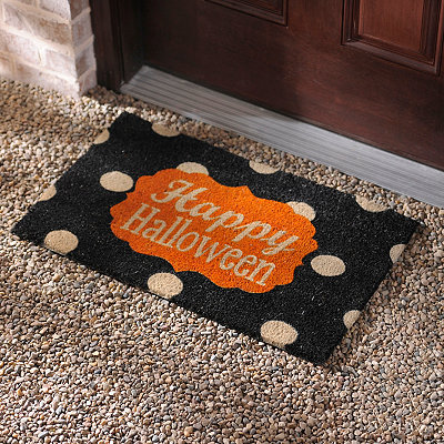 Happy Halloween Polka Dot Doormat