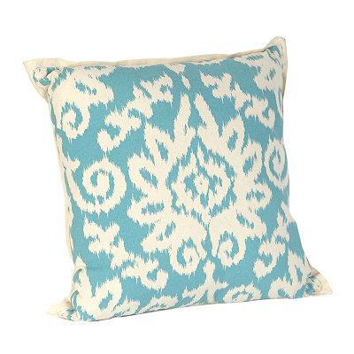 Aqua Ikat Damask Flange Pillow