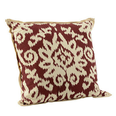 Red Ikat Damask Flange Pillow