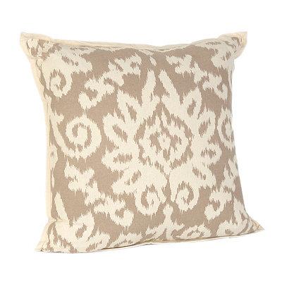 Tan Ikat Damask Flange Pillow