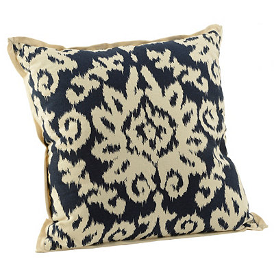 Navy Ikat Damask Flange Pillow