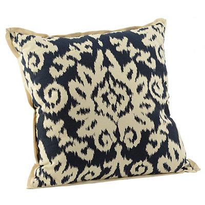 Navy Ikat Damask Flange Pillow