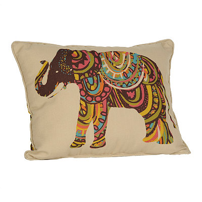 Reversible Exotic Elephant Accent Pillow