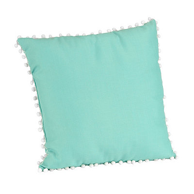 Aqua and White Pom Pom Pillow