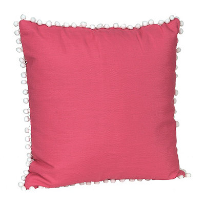 Pink and White Pom Pom Pillow