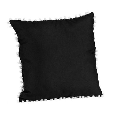 Black and White Pom Pom Pillow