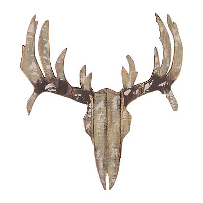 Distressed Moose Head Wood Plank Plaque