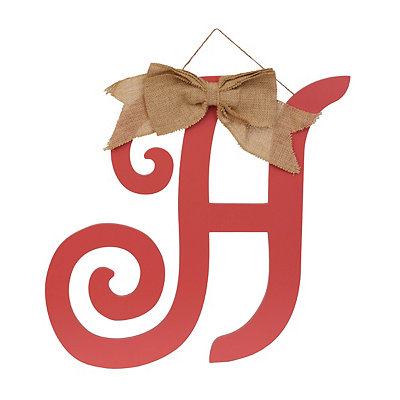 Spiced Coral Monogram H Plaque