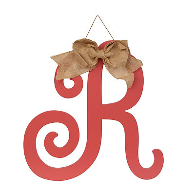 Spiced Coral Monogram R Plaque