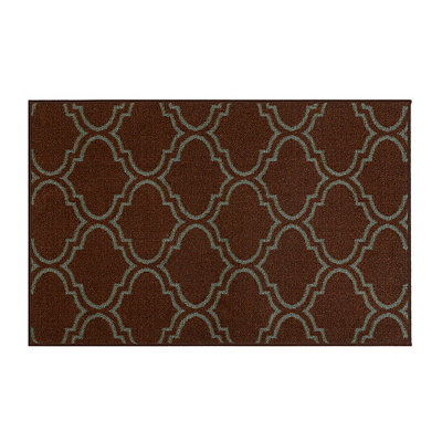 Jackson Blue and Brown Quatrefoil Scatter Rug