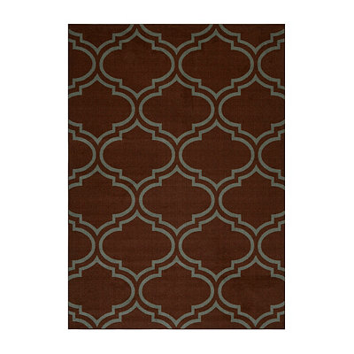 Jackson Blue and Brown Quatrefoil Area Rug, 5x7